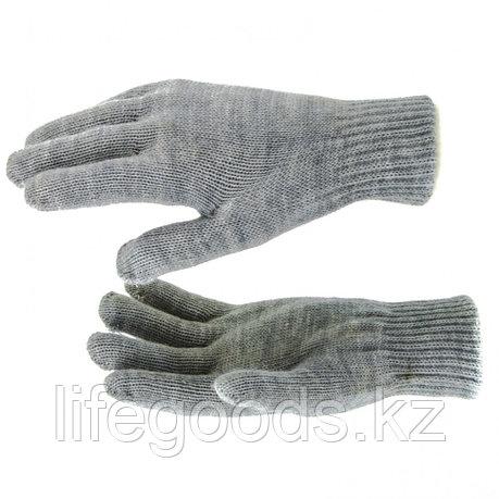 Перчатки трикотажные, акрил, двойные, серая туча, двойная манжета Россия Сибртех 68682, фото 2
