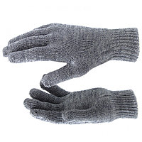 Перчатки трикотажные, акрил, двойные, серое мулине, двойная манжета Россия Сибртех 68684