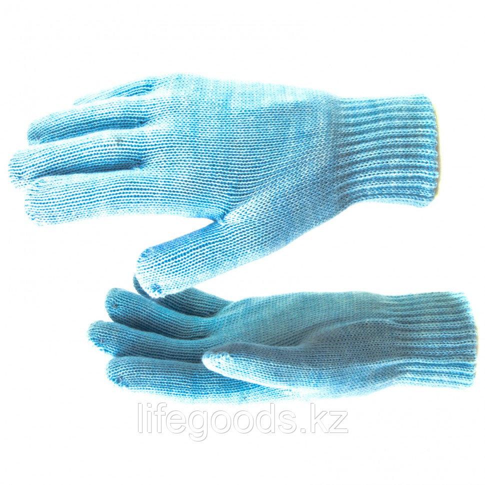 Перчатки трикотажные, акрил, двойные, цвет зенит, двойная манжета Россия Сибртех 68686