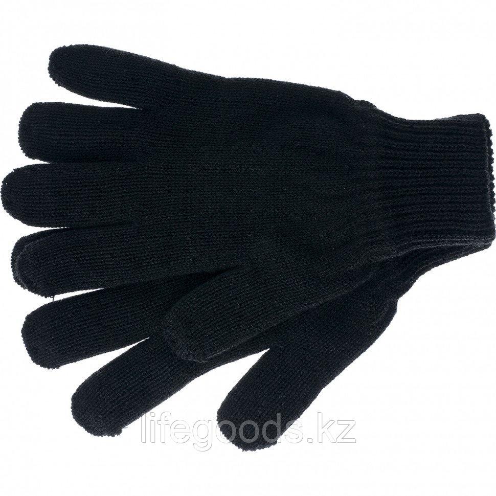 Перчатки трикотажные, акрил, двойные, черный, двойная манжета Россия Сибртех 68681
