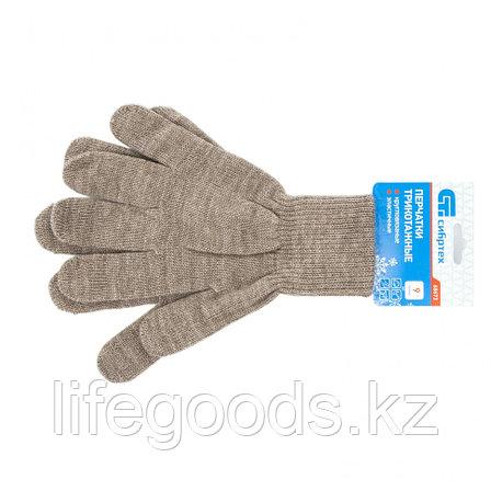 Перчатки трикотажные, акрил, коричневый, двойная манжета Россия Сибртех 68673, фото 2