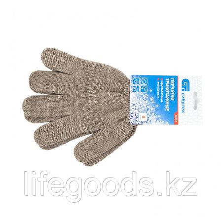 Перчатки трикотажные, акрил, коричневый, оверлок Россия Сибртех 68653, фото 2