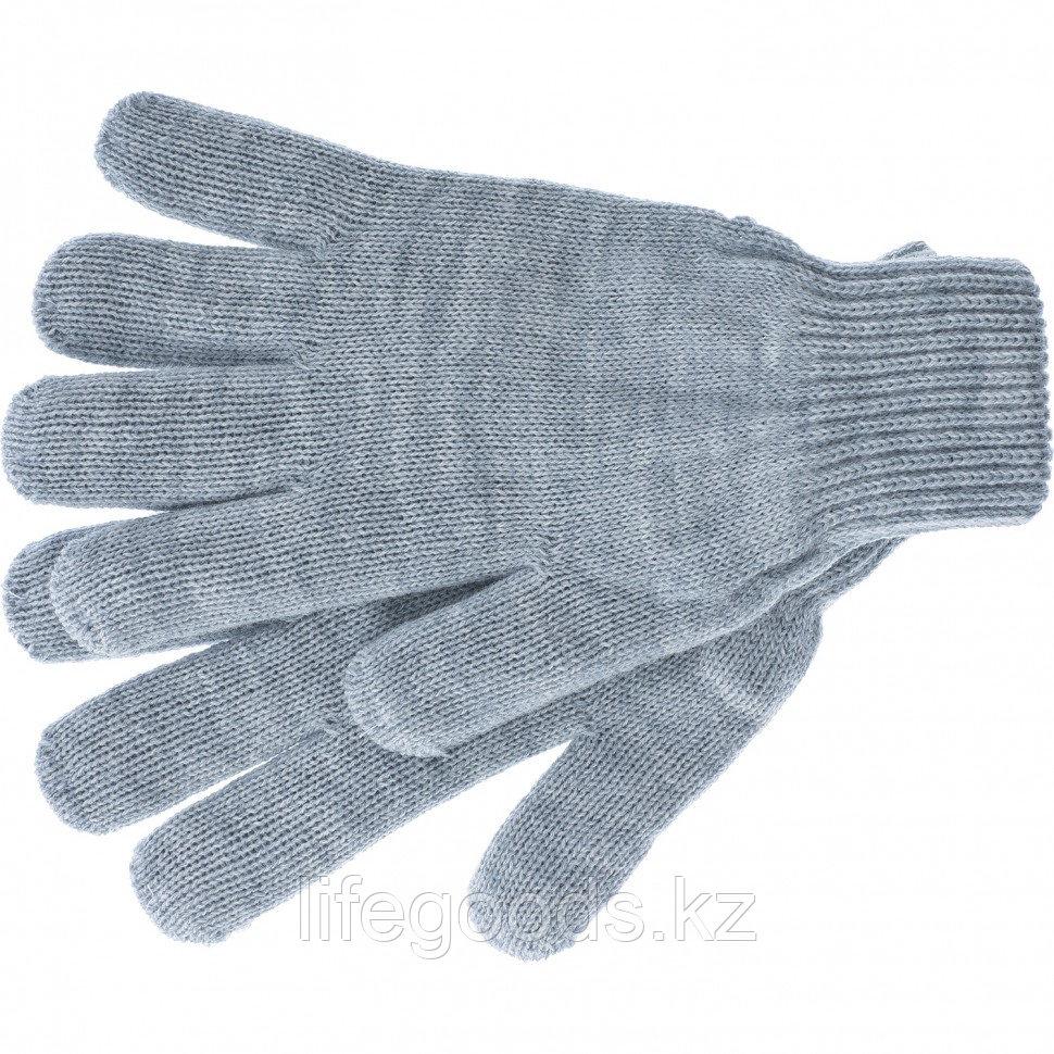 Перчатки трикотажные, акрил, серая туча, двойная манжета Россия Сибртех 68672
