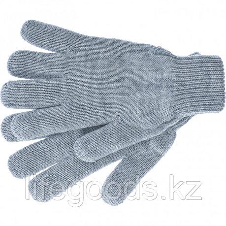 Перчатки трикотажные, акрил, серая туча, двойная манжета Россия Сибртех 68672, фото 2