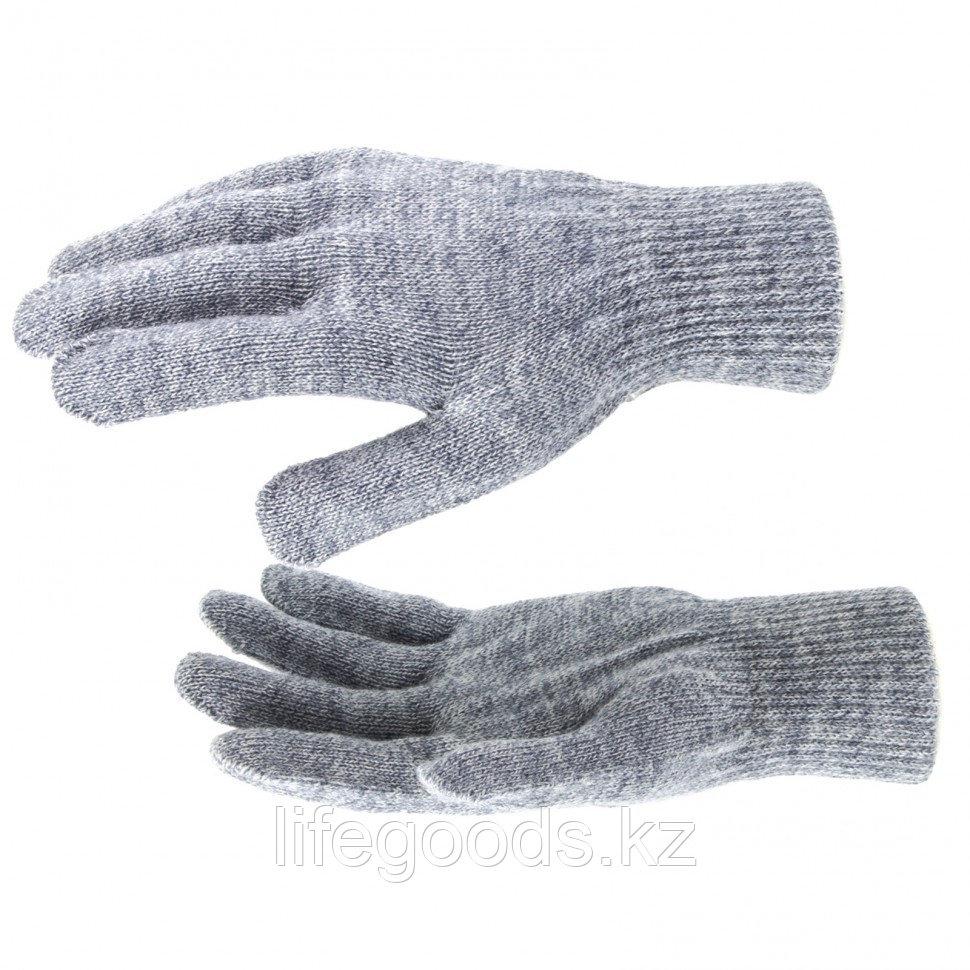 Перчатки трикотажные, акрил, серое мулине, двойная манжета Россия Сибртех 68674