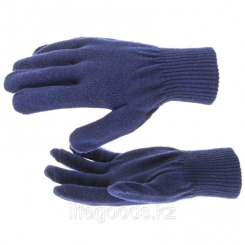 Перчатки трикотажные, акрил, синий, двойная манжета Россия Сибртех 68675