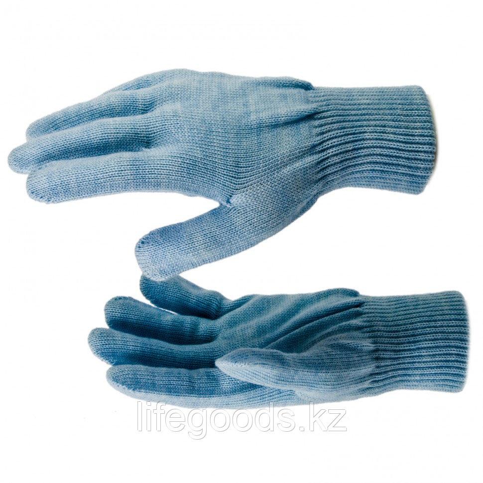 Перчатки трикотажные, акрил, цвет зенит, двойная манжета Россия Сибртех 68676