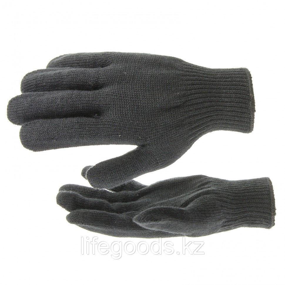 Перчатки трикотажные, акрил, черный, оверлок Россия Сибртех 68651