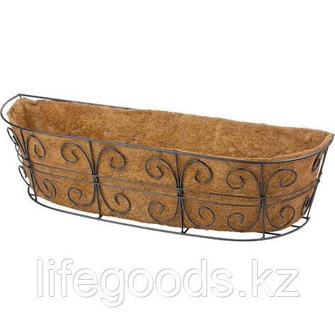Пристенное кашпо с декором, 74 х 20 см, с кокосовой корзиной Palisad 69014, фото 2