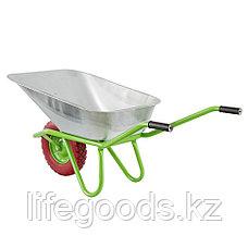 Тачка садово-строительная с PU колесом, грузоподъемность 180 кг, объем 90 л Сибртех, фото 3