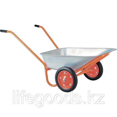Тачка садово-строительная ТСО2-02-03, ОЦ, цельнолитые колеса, грузоподъемность 120 кг, 90 л Россия, фото 2