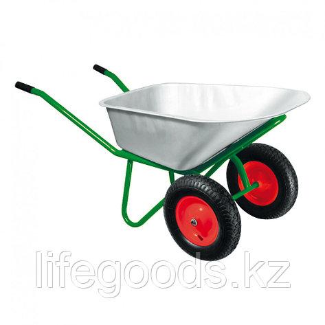 Тачка садово-строительная, двухколесная, усиленная, грузоподъемность 320 кг, объем 100 л Kronwerk, фото 2