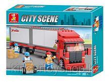Конструктор Sluban Контейнеровоз Фура аналог лего Lego City 345 деталей