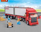 Конструктор Sluban Контейнеровоз Фура аналог лего Lego City 345 деталей, фото 5