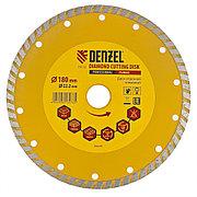 Диск алмазный, отрезной Turbo, 180 х 22,2 мм, сухая резка Denzel 73112