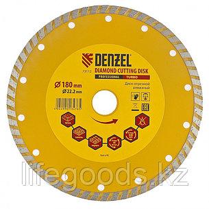 Диск алмазный, отрезной Turbo, 180 х 22,2 мм, сухая резка Denzel, фото 2