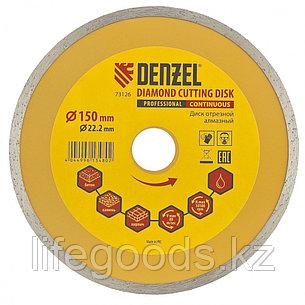 Диск алмазный, отрезной сплошной, 150 х 22,2 мм, мокрая резка Denzel, фото 2