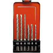 Набор буров по бетону, 6-8-10 х 110,6-8-10 х 160 мм, 6 шт, в пластиковой коробке, SDS Plus Matrix 71096