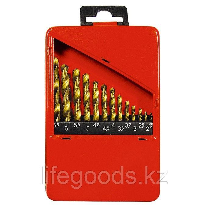 Набор нитридтитан. сверл по металлу, 1,5-6,5 мм (через 0,5 мм+3,2мм; 4,8 мм), НSS, 13 шт Matrix 72386