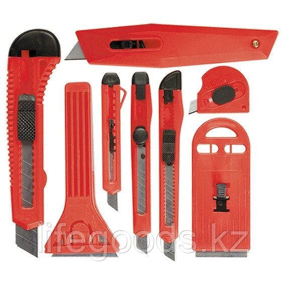 Набор ножей, выдвижные лезвия, 9 мм-3 шт, 18 мм-2 шт, скребки 40 и 52 мм Matrix 78991