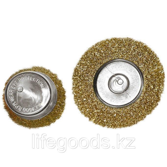 """Набор щеток для дрели, 2 шт, 1 плоская, 100 мм, 1 """"чашка"""", 75 мм, со шпильками Matrix 74480"""