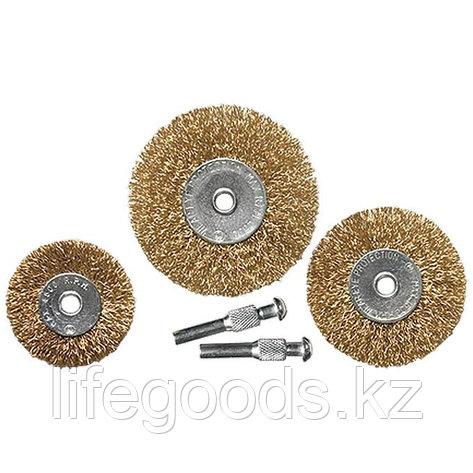 Набор щеток для дрели, 3 шт, 3 плоские, 50-63-75 мм, со шпильками, металлические Matrix 74490, фото 2