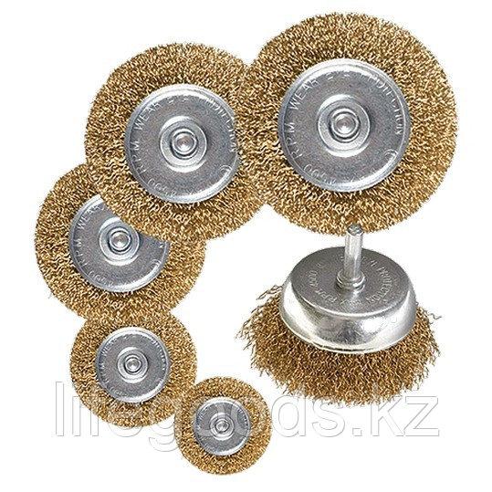 "Набор щеток для дрели, 6 шт, 5 плоских 40-50-65-75-100 мм + 1 ""чашка"" 50 мм, со шпильками Matrix 74496"