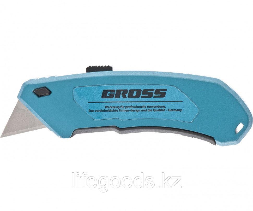 Нож 130 мм, алюминиевый корпус, выдвижное трапециевидное лезвие 18 мм (SK-5), клипса для ремня, 4 лезвия Gross