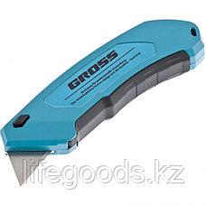 Нож 130 мм, алюминиевый корпус, выдвижное трапециевидное лезвие 18 мм (SK-5), клипса для ремня, 4 лезвия Gross, фото 2