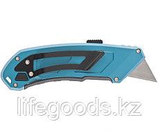Нож 130 мм, алюминиевый корпус, выдвижное трапециевидное лезвие 18 мм (SK-5), клипса для ремня, 4 лезвия Gross, фото 3