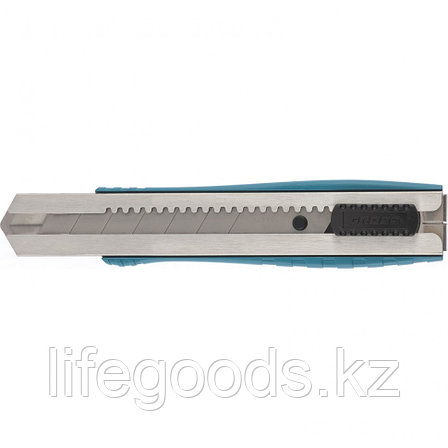 Нож 195 мм, металлический корпус, выдвижное сегментное лезвие 25 мм (SK-5), металлическая направляющая, клипса, фото 2