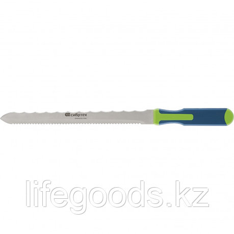 Нож для резки теплоизоляционных панелей, 2-стороннее лезвие, обрезиненная рукоятка, 420 мм, лезвие 280 мм Сибртех, фото 2