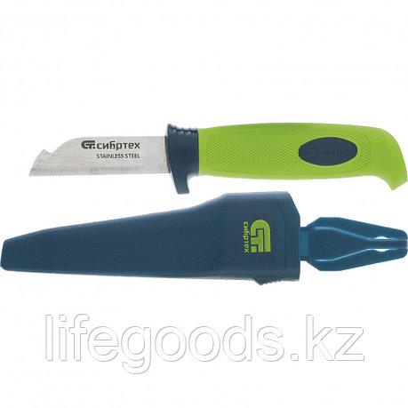 Нож монтажника с чехлом, обрезиненная рукоятка, 190 мм, лезвие 67 мм Сибртех 79012, фото 2