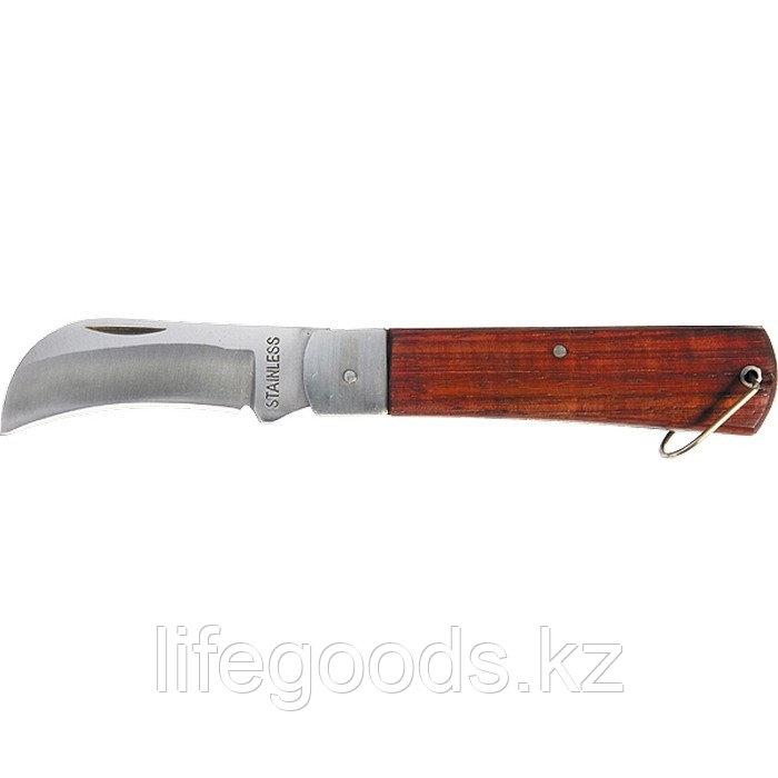 Нож складной, 200 мм, загнутое лезвие, деревянная ручка Sparta 78999