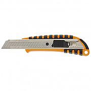 Нож, 18 мм выдвижное лезвие металлическая направляющая пластиковый двухкомпонентный корпус Sparta 78939