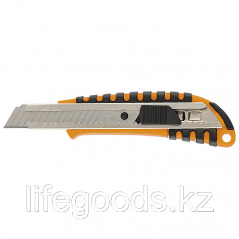 Нож, 18 мм выдвижное лезвие металлическая направляющая пластиковый двухкомпонентный корпус Sparta 78939, фото 2
