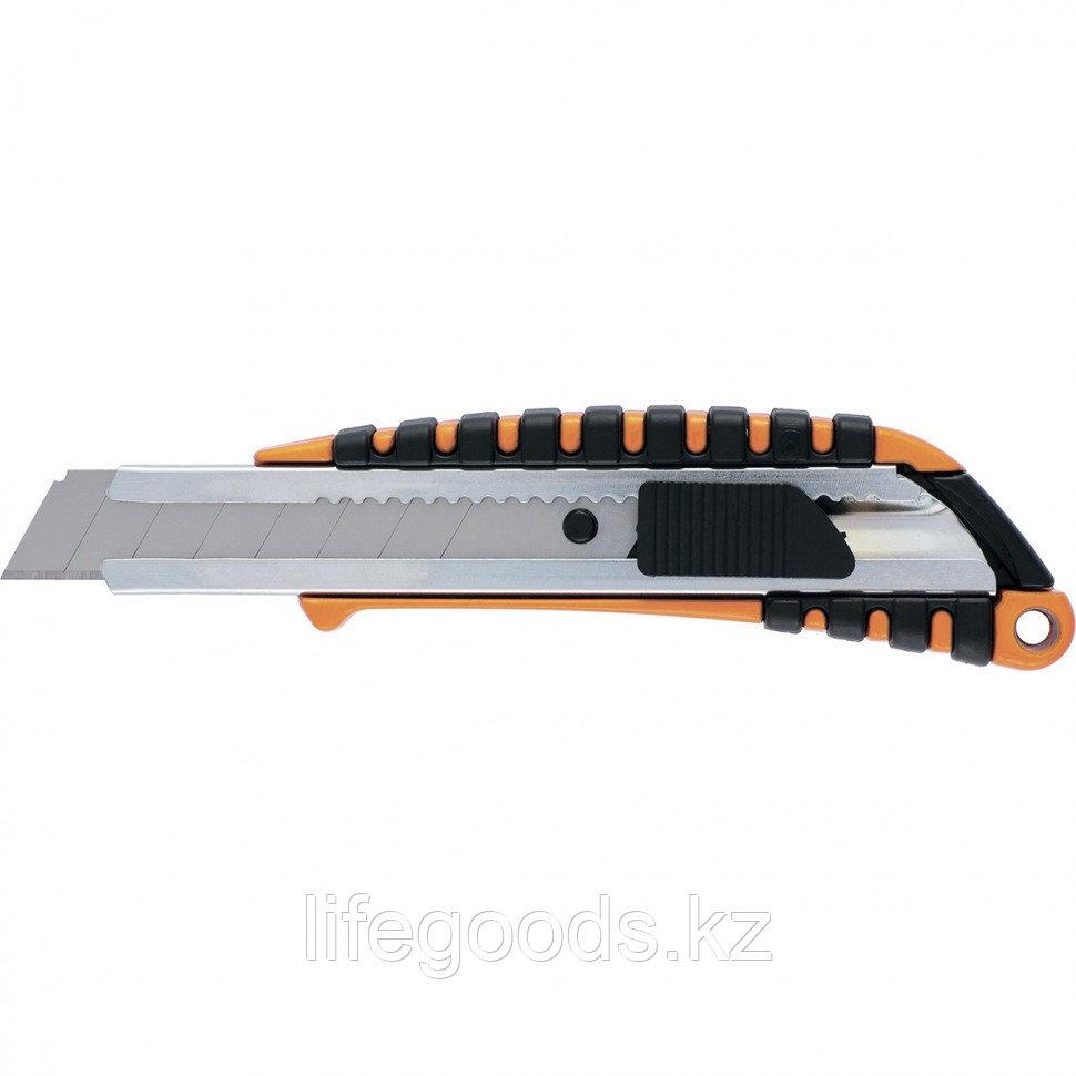Нож, 18 мм, выдвижное лезвие металлическая направляющая, металлический двухкомпонентный корпус Sparta