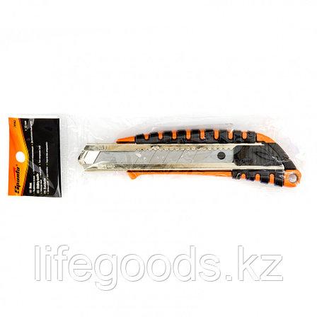 Нож, 18 мм, выдвижное лезвие металлическая направляющая, металлический двухкомпонентный корпус Sparta, фото 2