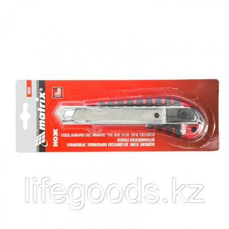 Нож, 18 мм, выдвижное лезвие металлическая направляющая, эргономичная двухкомпонентная рукоятка Matrix, фото 2