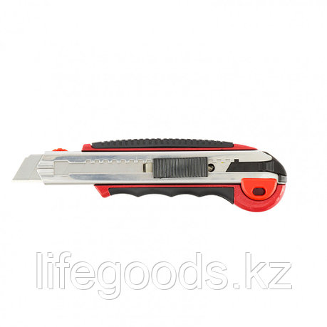 Нож, 18 мм, выдвижное лезвие, металлическая направляющая, обрезиненная ручка, 5 лезвий Matrix 78921, фото 2