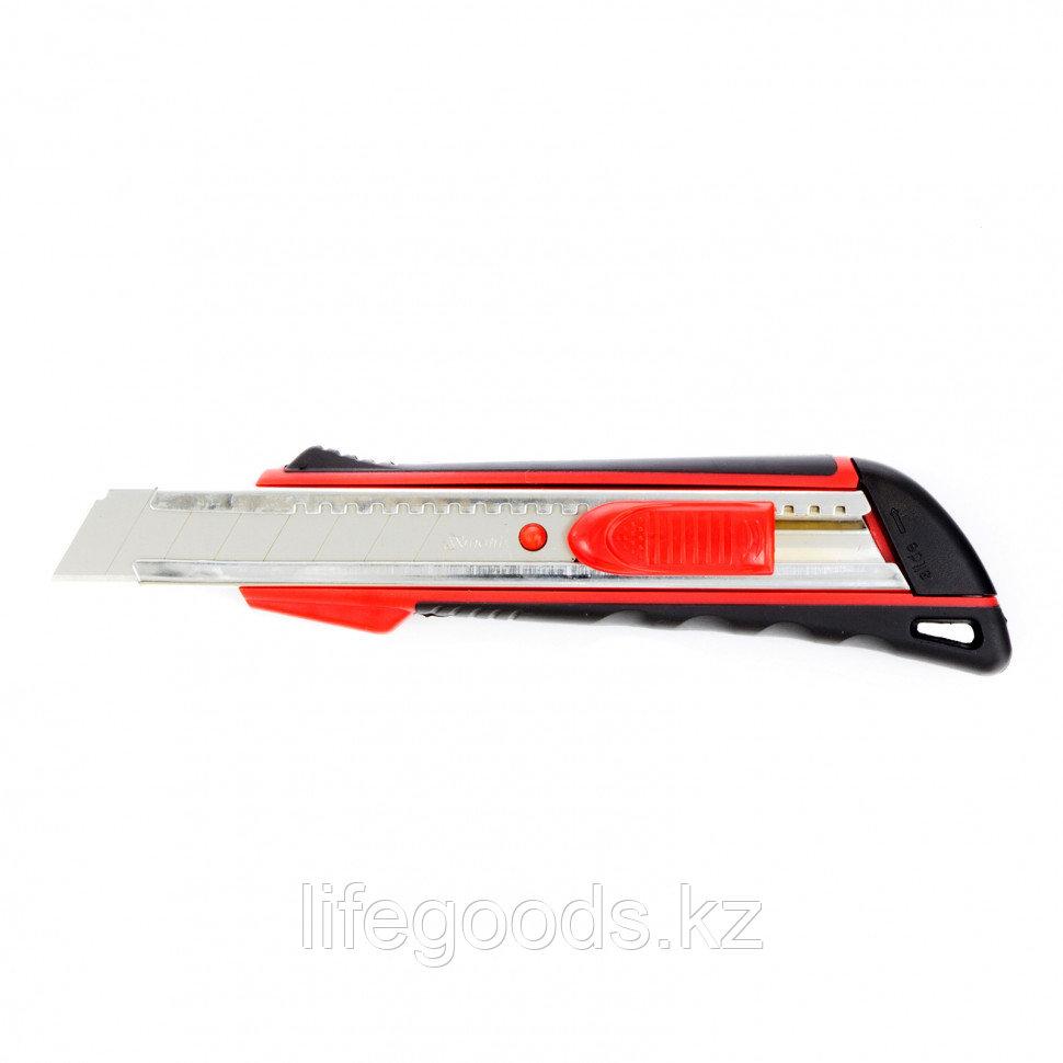 Нож, 18 мм, выдвижное лезвие, металлическая направляющая, эргономичная двухкомпонентная рукоятка MTRIX
