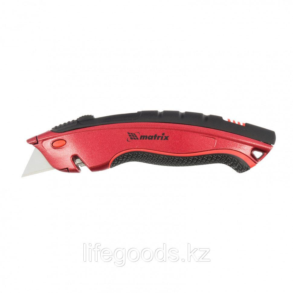 """Нож, 19 мм, выдвижное трапециевидное лезвие """"Quick Blade"""", эргономичная двухкомпонентная рукоятка, 3 лезвия Matrix"""