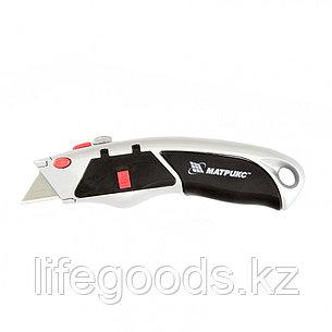 Нож, 19 мм, выдвижное трапециевидное лезвие, металлический корпус, 8 лезвий Matrix 78924, фото 2