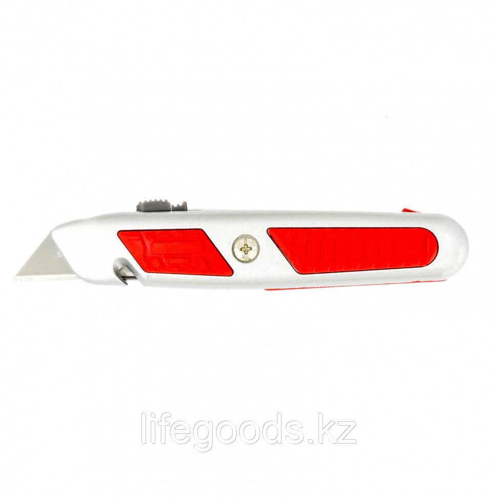 Нож, 19 мм, выдвижное трапециевидное лезвие, отделение для лезвий, металлический корпус Matrix 78967
