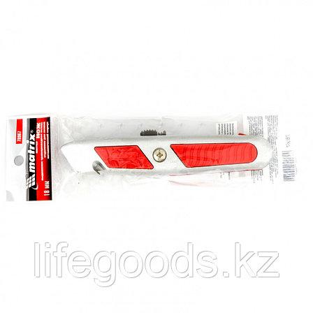 Нож, 19 мм, выдвижное трапециевидное лезвие, отделение для лезвий, металлический корпус Matrix 78967, фото 2