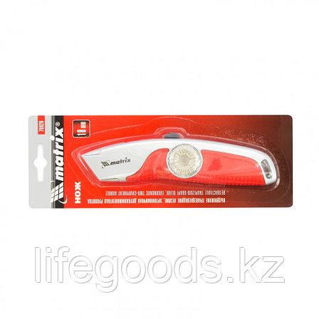 Нож, 19 мм, выдвижное трапециевидное лезвие, эргономичная двухкомпонентная рукоятка Matrix 78926, фото 2