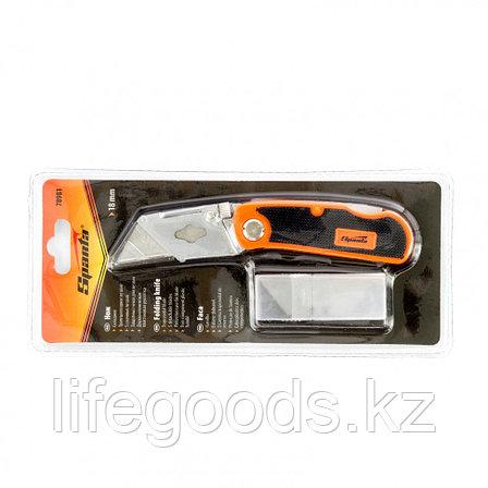 Нож, 19 мм, складной, пластиковая двухкомпонентная рукоятка, сменное трапециевидное лезвие, 5 лезвий Sparta, фото 2
