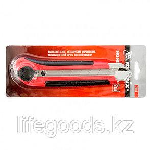 Нож, 25 мм, выдвижное лезвие, металлическая направляющая, двухкомпонентный корпус, винтовой фиксатор, с, фото 2