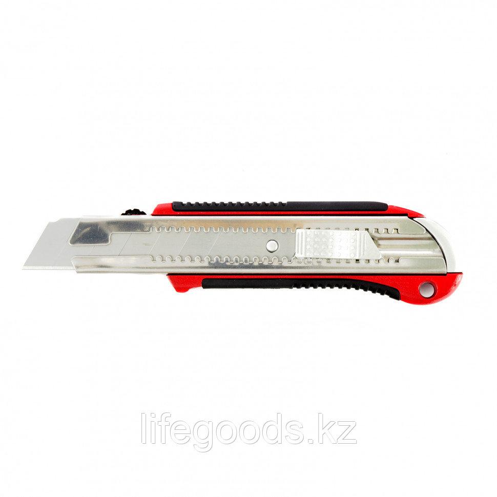 Нож, 25 мм, выдвижное лезвие, усиленная металлическая направляющая, металлическая обрезиненная рукоятка Matrix