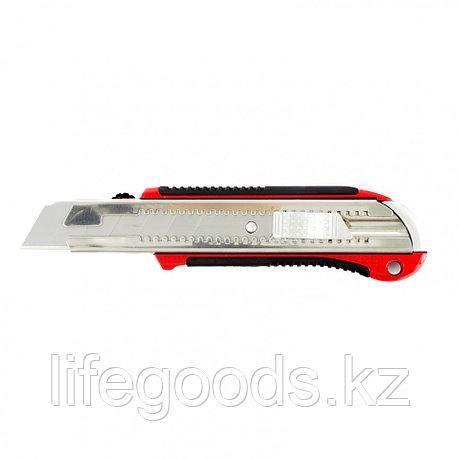 Нож, 25 мм, выдвижное лезвие, усиленная металлическая направляющая, металлическая обрезиненная рукоятка Matrix, фото 2